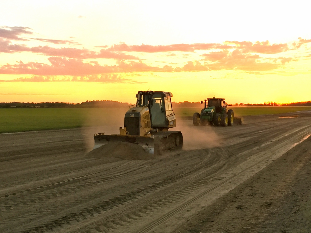 land clearing, sustainable agriculture, site development, sod installation   Grovin Farms, Florida.